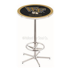 Holland Bar Stool - Holland Bar Stool L216 - 42 Inch Chrome Wake Forest Pub Table - L216 - 42 Inch Chrome Wake Forest Pub Table  belongs to College Collection by Holland Bar Stool Made for the ultimate sports fan, impress your buddies with this knockout from Holland Bar Stool. This L216 Wake Forest table with retro inspried base provides a quality piece to for your Man Cave. You can't find a higher quality logo table on the market. The plating grade steel used to build the frame ensures it will withstand the abuse of the rowdiest of friends for years to come. The structure is triple chrome plated to ensure a rich, sleek, long lasting finish. If you're finishing your bar or game room, do it right with a table from Holland Bar Stool.  Pub Table (1)