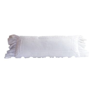 Taylor Linens - Tucked Linen Bolster - Bolster your deep sleep factor with this lounge-worthy long pillow. In crisp white linen voile, it features eyelet and pintuck detailing, a delicate ruffled edge and 100 percent white goose feather and down fill. What about personalizing the center with your own embroidered message? Sweet dreams are made of this.