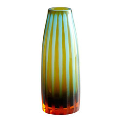 Cyan Design - Cyan Design Small Cyan and Orange Striped Vase X-92110 - Vertical striping creates a ribbed texture to this Cyan Design glass vase. The stripes have been created by chiseling the glass, which gives each vase a one-of-a-kind feel. To complete the look, a stunning Orange and Cyan Blue color palette has been used.