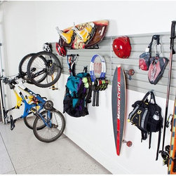 Flow Wall - Flow Wall Sports and Recreation Storage System Multicolor - FWS-4812-6SB12 - Shop for Garage Storage from Hayneedle.com! Storage System Details: (6) 4 foot slat-wall panels - Dimensions: 48W x 12H in.; Weight capacity: 100 lbs per square foot (10) X-Hooks - Dimensions: 1.25W x 2H in.; Weight capacity: 15 lbs each (2) Ski sports hooks - Dimensions: 9.5W x 7D in.; Weight capacity: 25 lbs each (2) Vertical bike hooks - Dimensions: 4W x 6D x 10H in.; Weight capacity: 35 lbs each (1) Racquet sports hook - Dimensions: 15W x 8.5D x 7H in.; Weight capacity: 20 lbs (2) Big mouth utility hook - Dimensions: 5.5W x 6D in.; Weight capacity: 60 lbs each About Flow Wall Put you workshop on the wall! We often hesitate to wall-mount equipment storage because it's just so permanent. The innovative Flow Wall system changes all that providing a simple system where shelves hooks cabinets bins and more simply switch places at will. By placing a custom-shaped Flow Wall where there was none you've opened up a world of possibilities without locking yourself into one design. Perfect for the laundry room rec room garage workshop class room craft area and so much more Flow Wall is the answer when your back's up against a wall.