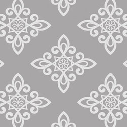 Wallpaper Worldwide - Carly - Lattice Pattern Wallpaper, Light Grey, Offwhite - Material: PVC