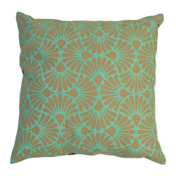 Fan Palm Cotton Pillow Cover, Teal