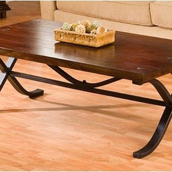 William Sheppee - Rajah Coffee Table - This large coffee table is perfect for a great room or any living space. The durable one and three quarters inch hardwood acacia will last for generations. The top is planked with hand forged rivot hardware and the inward turned legs are hallowing steel with a rustic black finish. Features: -Handcrafted hallow turned legs.-Hand forged rivot detail.-Dry dust for base cleaning.-Acacia wood construction.-Walnut finish.-Rajah collection.-Collection: Rajah.-Distressed: No.Dimensions: -Overall dimensions: 18'' H x 53'' W x 29'' D.-Overall Product Weight: 125 lbs.
