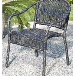 Casual Decor by Kaven - Harbor Bistro Chair - Golden Black - Aluminum frame covered in UV protected resin wicker. Perfect for apartment and town houses with smaller patios. Chair is available.