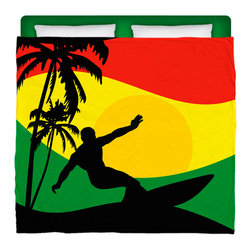 "Made In USA ""Surfer Mon"" Surfer Bedding King Size Comforter - Surf Into Your Bed With This Premium  Reggae- Rasta Flavored ""Surfer Mon"" King Size Comforter From Our Rasta Surfer Bedding Bed and Bath Collection."