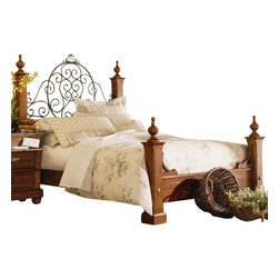 Kincaid - Kincaid Tuscano Solid Wood Queen Poster Bed - This beautiful bed will help you create a traditional  atmosphere that  you can really relax around in your master bedroom. The bed features  shaped wooden posts with regal finials. The curved crown headboard has  swirling metal details for a unique flourish that is sure to be the  focal feature of any bedroom.  Add sophisticated style and plenty of  comfort to you master suite by bringing home the Tuscano poster bed.