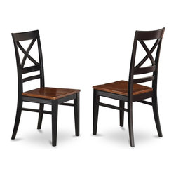 East West Furniture - X-Back Dining Chair in Black Finish - Set of 2 - Set of 2. High back chair with wooden seat in brown finish. Made from wood. Made in Vietnam. Assembly required. Seat height: 18 in. H. Overall: 17.5 in. W x 17.5 in. D x 38.5 in. H (40 lbs.)