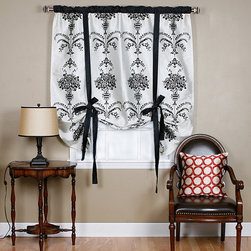 None - Black Velvet 70-inch Damask Tieup - Keep your home decor under wraps with these Black Velvet Damask tie up shades. Soft shimmery faux silk shade with velvet dasmask detailing add a stylish touch to your windows.