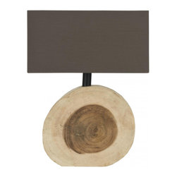 FORESTER LAMP - For natural beauty that always shines through, place the Nature's Elements Table Lamp on a living room side table, nightstand, or desk. The cotton-blend rectangle shade contrasts with the smooth curves of the unique base, which are reminiscent of a tree trunk's inner workings.