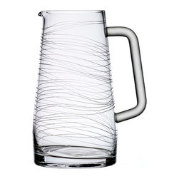 Bomma - Dune Collection 50 oz Crystal Water Pitcher - The Dune 50 oz. crystal water pitcher is an extraordinary serving piece. Designer Maria Hostinova has created robust pieces marked by cleanly defined shapes mixed with the delicate decor of flowing waves to underscore softness and playfulness with a touch of dynamic movement.