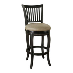 "American Heritage - American Heritage Maxwell 34 Inch Bar Stool in Black - Clean lines and subtle curves make this style a classic, suitable for any decor. Wood finished in Black with 3"" Mushroom bonded leather, featuring a full-bearing 360 degree swivel, durable mortise and tenon construction, adjustable leg levelers, and fully-integrated back support. What's included: Stool (1)."