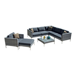 Harmonia Living - Ibis 8 Piece Modern Patio Sectional Set, Charcoal Cushions - This patio sectional is the life of the party. It offers plenty of room to accommodate your guests in sleek, sophisticated style. Each piece is made of high-density, polyethylene wicker that weathers the elements beautifully, so you can enjoy the great outdoors year-round.