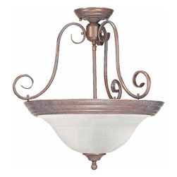 Volume Lighting - Volume Lighting V2230 Troy 3 Light Semi-Flush Ceiling Fixture - Three Light Semi-Flush Ceiling Fixture from the Troy CollectionBrilliant and alluring, this 3 light semi-flush ceiling fixture features dazzling alabaster glass in a stunning bowl shade.Features: