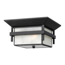 Hinkley Lighting - Harbor 2-Light Flush Outdoor - Harbor has an updated nautical feel, with a style inspired by the clean, strong lines of a welcoming lighthouse. The cast aluminum and brass construction is accented by bold stripes against the seedy glass.