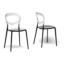 Baxton Studio - Orlie Black and Clear Modern Dining Chairs (Set of 2) - Add a stylish edge to your home with these black contemporary dining room chairs, ideal for complementing a modern decor. This set of two chairs features sleek, opaque black acrylic seating and funky transparent backrests for added chic.