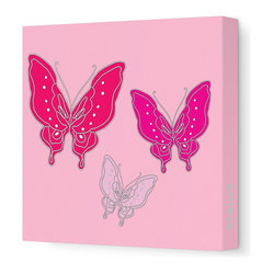 "Avalisa - Animal - Butterfly Stretched Wall Art, 18"" x 18"", Pink - You don't need a net to capture this look and transform your space. Stylized butterflies are printed on stretched fabric in your choice of sizes and color combinations. It's a great way to add color and whimsy to any room in your house."
