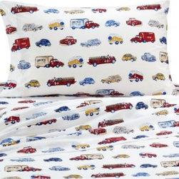 Whistle & Wink - Whistle & Wink Cars and Trucks Twin Sheet Set - The rows of memorable vintage cars and trucks featured on this sheet set add to the timeless charm of the Cars and Trucks quilt. Each vehicle handpainted in eyecatching detail.