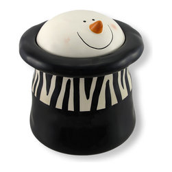 Zeckos - Ceramic Melting Snowman Goody Jar Wild About Frosty - You won't be able to resist temptation when you fill this 'Wild About Frosty' jar with scrumptious goodies He is so wild about goodies, he's melting right into his zebra striped hat Made of ceramic and hand painted, this jolly gentleman always wears a smile and is sure to bring one to the faces of your family and friends. Measuring 6.75 inches tall and 5.5 inches around, this goody jar brings two coveted motifs into one design. He makes a great gift for any snowman or animal print collector