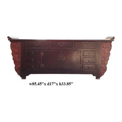 Vintage Fujian Rustic Brown Fu Dog Buffet Sideboard Table - The sideboard console table is in traditional Chinese point edge altar style with functional drawers and center shelf. The apron is decorated with old restored relief fu dogs motif carving panels. The brown lacquer is in rustic uneven finish.
