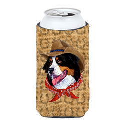 Caroline's Treasures - Bernese Mountain Dog  Country Lucky Horseshoe Tall Boy Koozie Hugger - Bernese Mountain Dog  Country Lucky Horseshoe Tall Boy Koozie Hugger Fits 22 oz. to 24 oz. cans or pint bottles. Great collapsible koozie for Energy Drinks or large Iced Tea beverages. Great to keep track of your beverage and add a bit of flair to a gathering. Match with one of the insulated coolers or coasters for a nice gift pack. Wash the hugger in your dishwasher or clothes washer. Design will not come off.