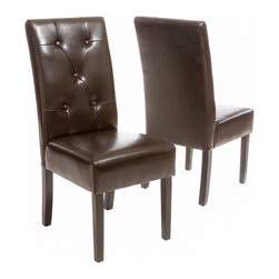 Great Deal Furniture - Alexander Brown Leather Dining Chair (Set of 2) - The Alexander dining chair is upholstered in beautiful chocolate brown bonded leather and accented with buttons tufted backrest. This chair is comfortable and sophisticated for any dining room or kitchen area.