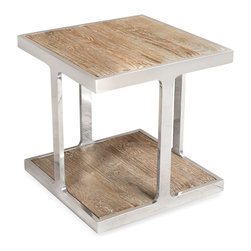 Kathy Kuo Home - Zanuso Industrial Reclaimed Elm Stainless Steel Square Side Table - Balancing a sleek polished steel frame with natural, reclaimed wood, this distinctive side table delivers a strong modern effect.  The unorthodox placement of legs - set in from the corners rather than in line with them - creates a surprising and subtle visual interest.