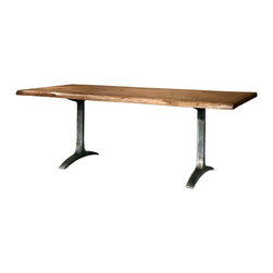 TerraSur - Fortaleza Dining Table - Make your next meal marvelous with this estimable table. Firmly planted on sturdy steel legs and topped with a solid slab of gorgeous wood, it's elegantly simple and thoroughly cool. Made in Argentina.