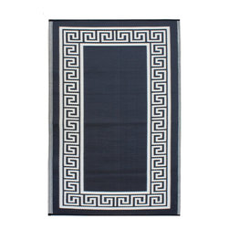 Fab Habitat - Athens Rug, Black & Cream, 6x9 - This handsome all-weather rug is woven from recycled plastic and features a classic Greek key border. Washable and mildew resistant, it's ideal for the deck, the playroom, the beach — anywhere you want good looks and easy care. Comes with its own tote bag, for convenient transport or storage.