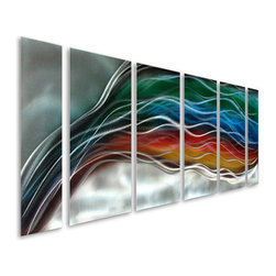 Pure Art - Rainbow Exit Six-Piece Handcrafted Metal Wall Hanging - Stimulating style and design! Bring a look that adds positive energy to your modern home with the Rainbow Exit Six-Piece Handcrafted Metal Wall Hanging Set. This beautiful set of metal wall art pieces has been skillfully hand painted using colors of green, blue, orange, red and silver to create flowing lines, curves and shapes that simply blend from one panel to the other. Aluminum wall hanging set is great for decorating large wall spaces in your contemporary home or office. Each panel of the set has been hand crafted with fine materials by expert craftsman delivering unique and individual pieces of art workMade with top grade aluminum material and handcrafted with the use of special colors, it is a very appealing piece that sticks out with its genuine glow. Easy to hang and clean.