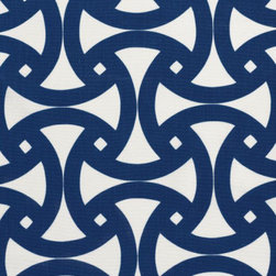 Santorini Print Fabric, Marine - Who wouldn't want a little Greek Isles inspiration in their own backyard? Cover your outdoor furniture in this sturdy fabric from Schumacher, and you'll feel transported in no time.