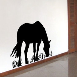 StickONmania - Horse Eating Grass Sticker - A nice vinyl sticker and wall art design for your home Decorate your home with original vinyl decals made to order in our shop located in the USA. We only use the best equipment and materials to guarantee the everlasting quality of each vinyl sticker. Our original wall art design stickers are easy to apply on most flat surfaces, including slightly textured walls, windows, mirrors, or any smooth surface. Some wall decals may come in multiple pieces due to the size of the design, different sizes of most of our vinyl stickers are available, please message us for a quote. Interior wall decor stickers come with a MATTE finish that is easier to remove from painted surfaces but Exterior stickers for cars,  bathrooms and refrigerators come with a stickier GLOSSY finish that can also be used for exterior purposes. We DO NOT recommend using glossy finish stickers on walls. All of our Vinyl wall decals are removable but not re-positionable, simply peel and stick, no glue or chemicals needed. Our decals always come with instructions and if you order from Houzz we will always add a small thank you gift.