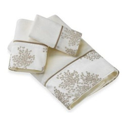 Revman International Inc. - Laura Ashley Eleanora Gold/Cream Bath Towel - Decorate your bathroom with these beautiful Laura Ashley towels. Solid ivory 100% cotton terry velour features a coordinating applique sheer fabric border with gold embroidery and dark gold inserted piping.