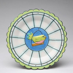 ATD - 7 1/2 Inch Green and Blue Bird Standing on Perch Dessert Plate - This gorgeous 7 1/2 Inch Green and Blue Bird Standing on Perch Dessert Plate has the finest details and highest quality you will find anywhere! 7 1/2 Inch Green and Blue Bird Standing on Perch Dessert Plate is truly remarkable.
