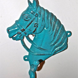 Turquoise Horse Head Wall Hook by Aqua Xpressions - This whimsical cast iron hook would look fantastic on the wall. Plus, the hanging storage will keep the floors free for little crawlers.