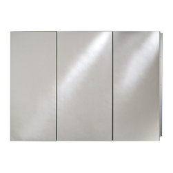 Afina - Afina Broadway Surface Mount Triple Door Medicine Cabinet - 36W x 4D x 30H in. M - Shop for Bathroom Cabinets from Hayneedle.com! The Afina Broadway Surface Mount Triple Door Medicine Cabinet - 36W x 4D x 30H in. is a true powerhouse of a cabinet. This piece is made from satin anodized aluminum for a rust-resistant shine and sturdy body construction. This cabinet's three doors are mirrored and rest upon concealed European hinges keeping this piece nice and sleek. It features beveled edge mirrored doors on the outside. Inside you'll find a mirrored inside door and inside back and best of all nine adjustable glass shelves capable of housing every small bathroom item you can think of. Fabulous. This piece may be recess or surface mounted. This cabinet measures 36W x 4D x 30H inches. The approximate wall opening dimensions are 35.375W x 4D x 29.375H inches. About AfinaAfina Corporation is a manufacturer and importer of fine bath cabinetry lighting fixtures and decorative wall mirrors. Afina products are available in an extensive palette of colors and decorative styles to reflect the trends of a new millennium. Based in Paterson N.J. Afina is committed to providing fine products that will be an integral part of your unique bath environment.