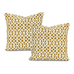 EFF - Nairobi Desert Cotton Pillow Covers (Set of 2) - Decorate your home in contemporary style with these Nairobi Desert pillow covers. Crafted with soft cotton,these square pillowcases feature a contemporary latticework pattern and a charming envelope button closure.