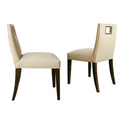 Doma Dining Chairs - Jan Rosol Doma Collection fully upholstered dining chair with rectangular cut-out in the back, shown in coffee bean finish and doe leather upholstery with dark nailheads,