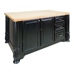 "Distressed Black Large Island with Large Cabinet/Three Drawers - This island features three drawers and a large cabinet on one side and three additional drawers above a cabinet on the reverse side. Drawers feature full extension soft-close slides.  Coordinating decorative hardware is included.  Maple grain butcher block top is 1 ¾"" thick."