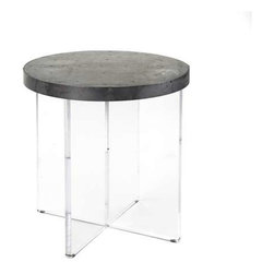 "Zentique - Alf Side Table by Zentique - Distressed zinc patchwork accented with numerous nail heads forms a circular table top supported by an ""X"" shaped acrylic base. The floating top illusion makes this an ideal choice next to your comfy reading chair. (ZEN) 25"" high x 24.25"" round"