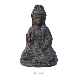 Chinese Sitting Kwan Yin Metal Statue - This sitting Kwan Yin is made of metal (could be bronze as you see from the face) and carved with detailed graphic. She is holding a spring dew vase and in a meditation position. This is a prayer and also a collector's item.