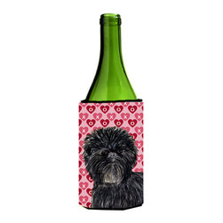 Caroline's Treasures - Affenpinscher Hearts Love and Valentine's Day Wine Bottle Koozie Hugger - Affenpinscher Hearts Love and Valentine's Day Portrait Wine Bottle Koozie Hugger Fits 750 ml. wine or other beverage bottles. Fits 24 oz. cans or pint bottles. Great collapsible koozie for large cans of beer, Energy Drinks or large Iced Tea beverages. Great to keep track of your beverage and add a bit of flair to a gathering. Wash the hugger in your washing machine. Design will not come off.