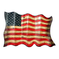None - Americana Antique-style American Flag Metal Wall Decor - Celebrate your patriotism all year long with this hand-forged metal American flag wall decor. With its wavy metal detail,signature American colors,and antique finish,this patriotic hanging wall decor is a wonderful tribute for any home.