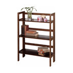Winsome Wood - Winsome Wood 3-Tier Folding & Stackable Shelf - Wide - This folding shelf comes in three different finishes to match any space. Double stack this shelf to create a wall unit. Use it in the bathroom for your towels, in the kids room for their stuff toys or in an office for books or files. Made of Solid beechwood. Shelf (1)