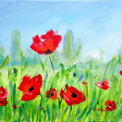 """""""Summer with Red poppies, Original, Painting"""" - Summer with Red Poppies --- May the beauty of Summer fill your heart! ---- Acrylic on stretched canvas. Gallery Format. Ready to hang."""