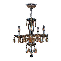 "Worldwide Lighting - Gatsby 5 Light Chrome Finish and Amber Blown Glass Chandelier 16"" D x 18"" H Mini - This stunning 5-light Chandelier only uses the best quality material and workmanship ensuring a beautiful heirloom quality piece. Featuring a radiant chrome finish and blown glass in amber (translucent yellowish-orange color) finish, this elegant chandelier is a work of art in its quality and beauty. Worldwide Lighting Corporation is a privately owned manufacturer of high quality crystal chandeliers, pendants, surface mounts, sconces and custom decorative lighting products for the residential, hospitality and commercial building markets. Our high quality crystals meet all standards of perfection, possessing lead oxide of 30% that is above industry standards and can be seen in prestigious homes, hotels, restaurants, casinos, and churches across the country. Our mission is to enhance your lighting needs with exceptional quality fixtures at a reasonable price."