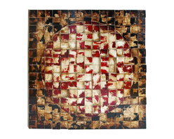 Woodland Imports - Unique Wood Wall Panel Circle Square Shapes Pattern Accent Decor - Unique wood wall panel with Geometric circle and square shapes and woven pattern in various colors accent decor