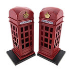 Retro British Phone Booth Metal Bookends Hand Painted - Made of metal, this awesome pair of retro British telephone booth bookends is great for anyone who loves all things British. The bookends have an artificially distressed red enamel finish, with hand painted lettering. Each bookend measures 8 1/2 inches tall, 4 1/4 inches wide and 4 inches deep.  They look great on bookshelves and on top of desks or tables.