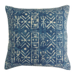 "Jaipur Rugs - Handmade Cotton Blue (24""x24"") Pillow - Dabu cotton pillows use a resist dying process to create interesting patterns.  This technique will have some variation in color due to the length of time that the die is applied."