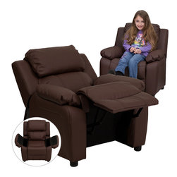 Flash Furniture - Flash Furniture Deluxe Heavily Padded Contemporary Brown Leather Recliner - Kids will now be able to enjoy the comfort that adults experience with a comfortable recliner that was made just for them! This chair features a strong wood frame with soft foam and then enveloped in durable leather upholstery for your active child. Choose from an array of colors that will best suit your child's personality or bedroom. This petite sized recliner features storage arms so kids can store items away and retrieve at their convenience. [BT-7985-KID-BRN-LEA-GG]