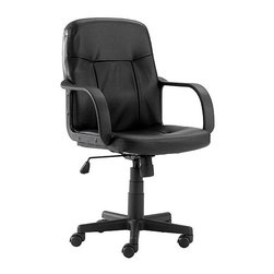 Flash Furniture - Mid Back Executive Chair in Black Vinyl Uphol - Everyone should have a chair this comfortable to work in, and at such an incredible price, everybody can. Beautifully crafted from durable black vinyl, it features built-in lumbar support so it's easy on the back. And with the easy-to-operate pneumatic lift and adjustable tilt features, everyone can find his or her perfect fit. Extra details like dual-wheel carpet casters and smooth curved armrests make this affordable task chair an excellent choice. Mid - back executive swivel. Black vinyl upholstery. Ergonomic seating with passive lumbar support. Black nylon loop arms. Pneumatic seat height adjustment. Tilt tension adjustment. Heavy duty nylon base. Dual wheel carpet casters. Seat: 18 in. W x 18 in. D. Back: 18 in. W x 20 in. H. Seat Height 18�_ in. - 23 in. H. Arm Height 25�_ in. - 30 in. H. Overall Height: 36�_ in. - 40 in. H